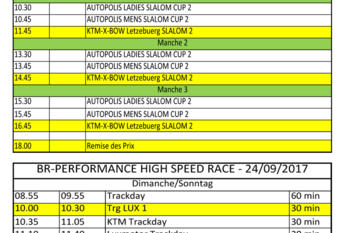 Timing Race Weekend 23-24 Sept 2017
